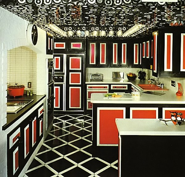 1940's black and red kitchen 2 interior design ideas