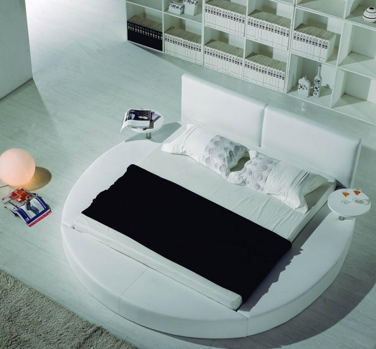 Contemporary White Leather Headboard Round Bed