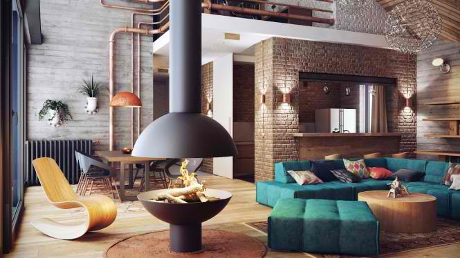 Industrial Loft interior design by Alexander Uglyanitsa