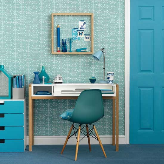 modern blue home office ideas