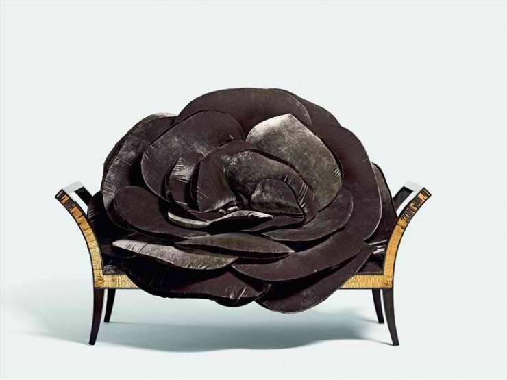 elegant black velvet and gold small sofa by sicis