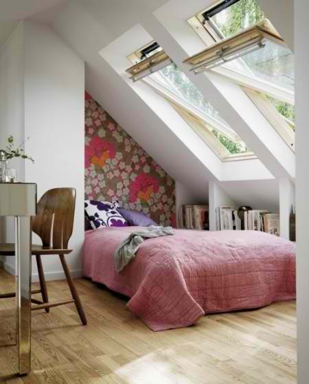 grat design feminine attic bedroom