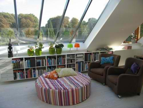 modern colorful attic living room