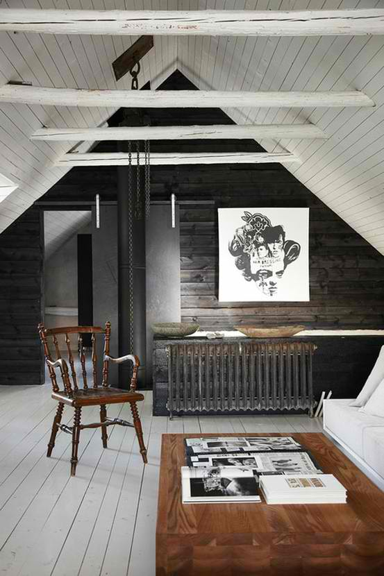 bold wood attic room