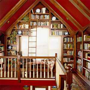 red living room and library attic