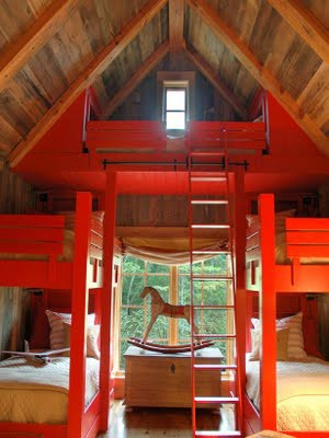 red and wood attic room