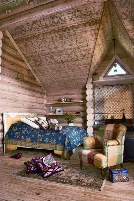 wood sculpture attic bedroom