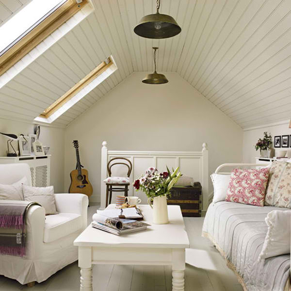 romantic white attic living room