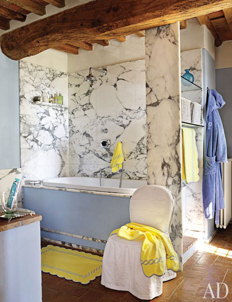 awesome white and blue marble bathroom