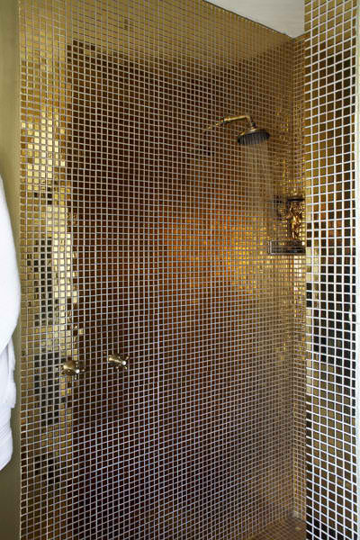 bathroom with goldtiles
