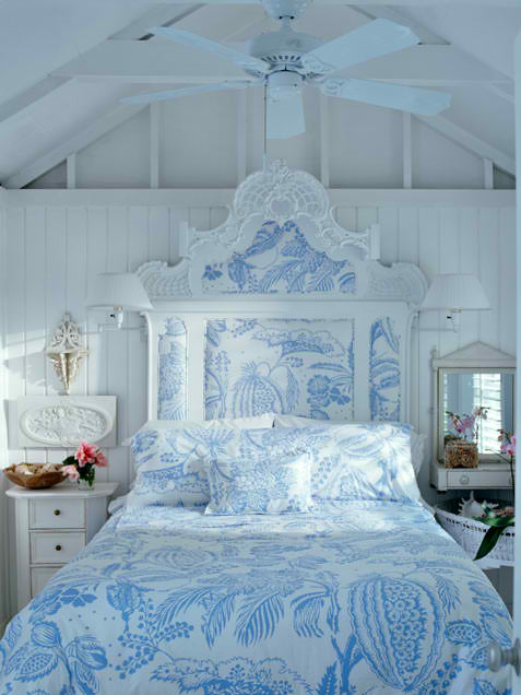 eclectic white and blue bedroom design ideas