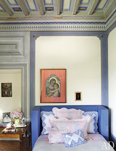 light blue tuscan bedroom