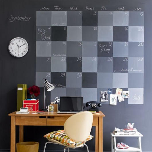 chalkboard calendar home office idea