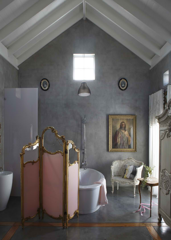 attic concrete bathroom with antique decor