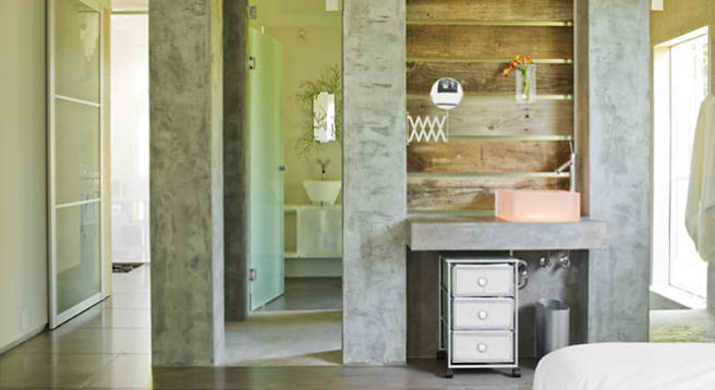 concrete and wood bathroom design