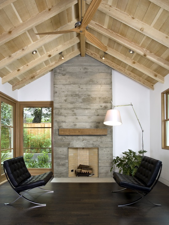 living room concrete fireplace woodgrain