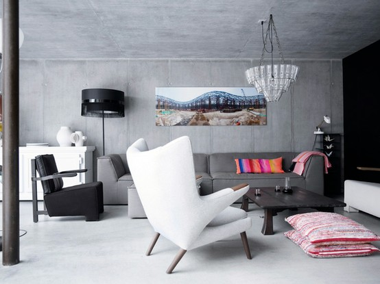 concrete living room and floor