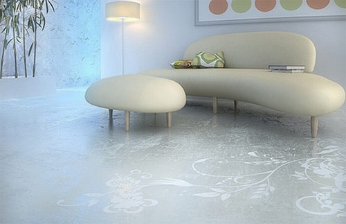 concrete living room flooring