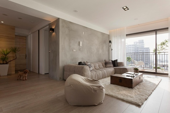 concrete wall living room