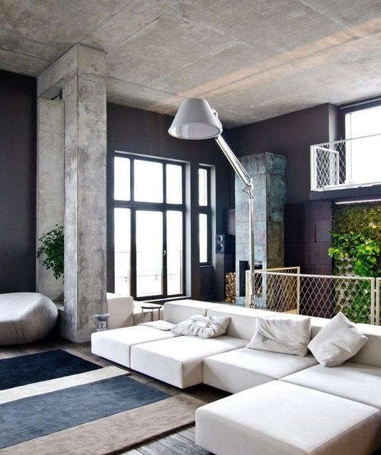 concrete black and white living room