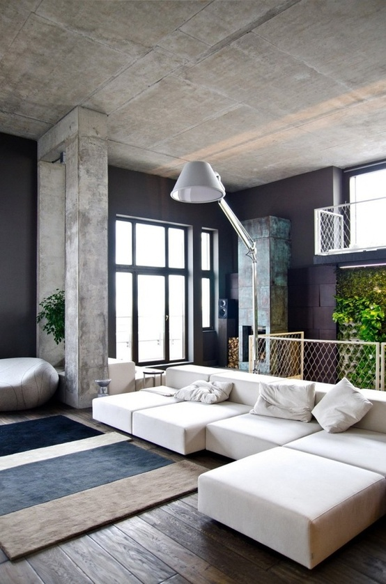 concrete black and white living room