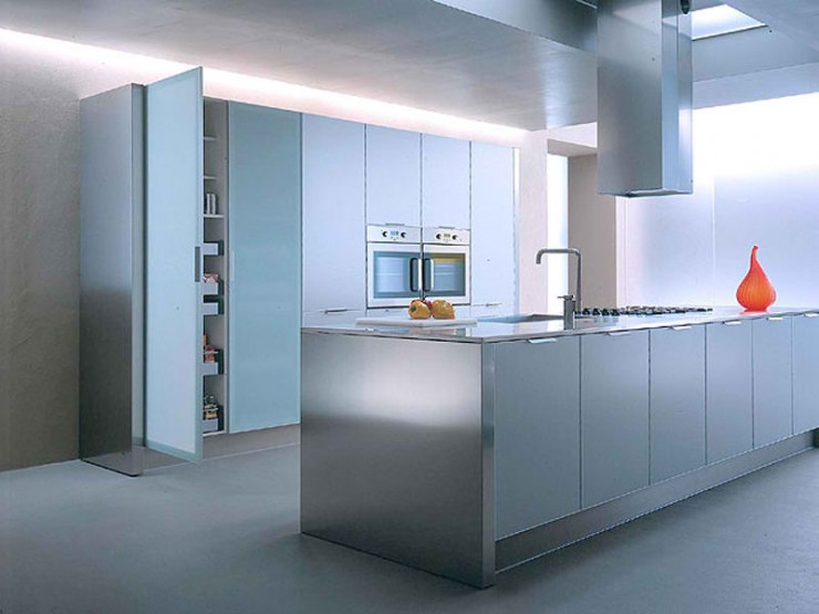 10 stylish aluminium stainless steel kitchen designs for Kitchen set aluminium