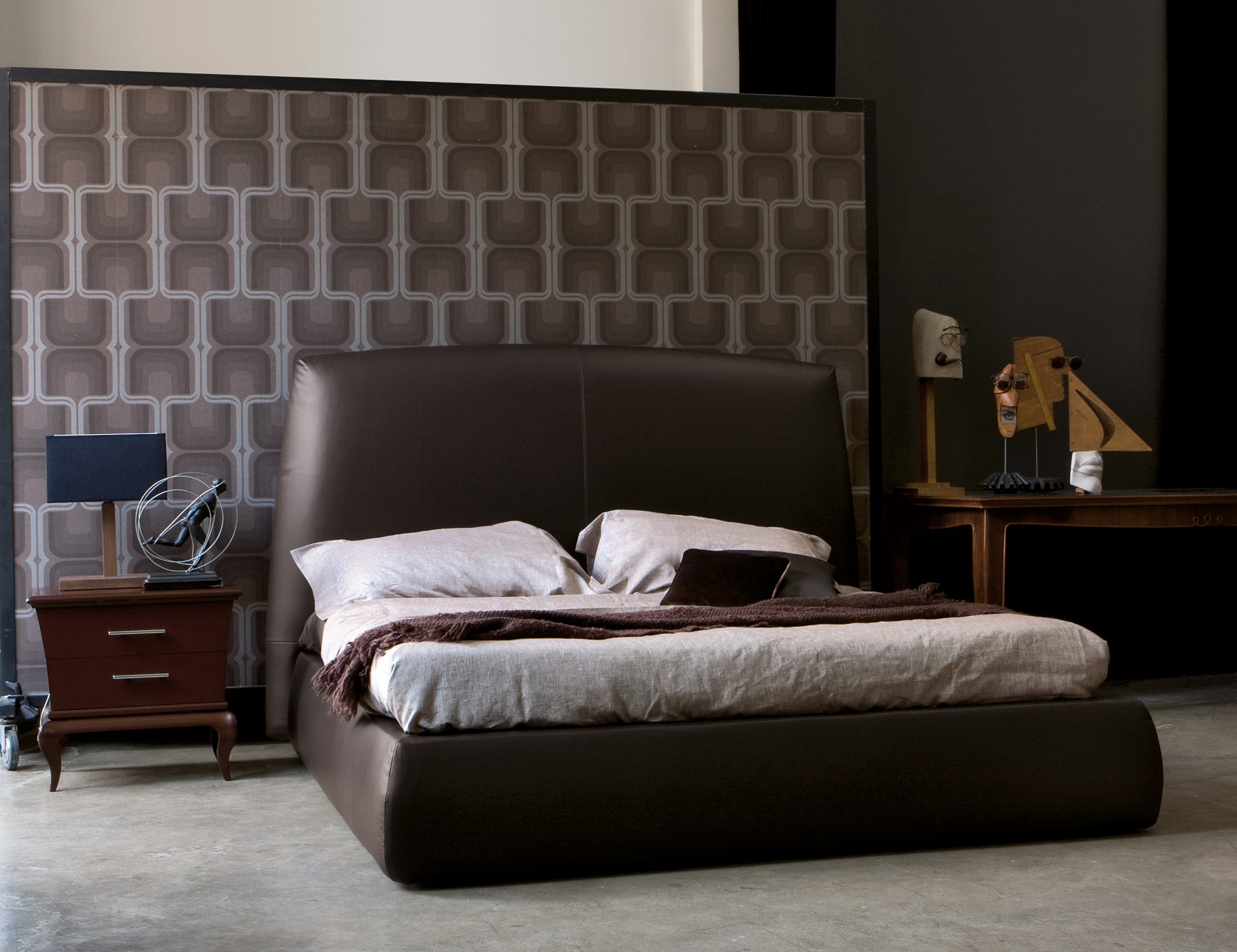 Contemporary Bedroom Furniture 10 Ideas. Italian Upholstered Bed Shown In  Brown Leather.