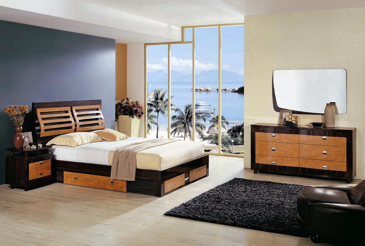 asmir contemporary bedroom furniture finished in moro oak or light oak
