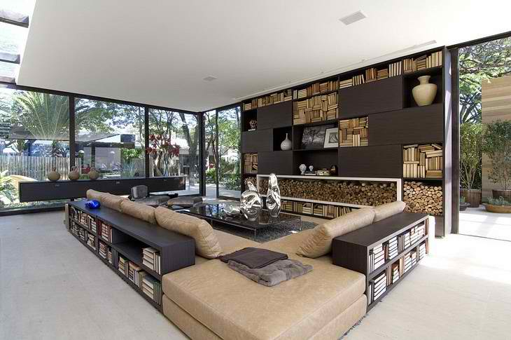fully open to the outside contemporary living room design