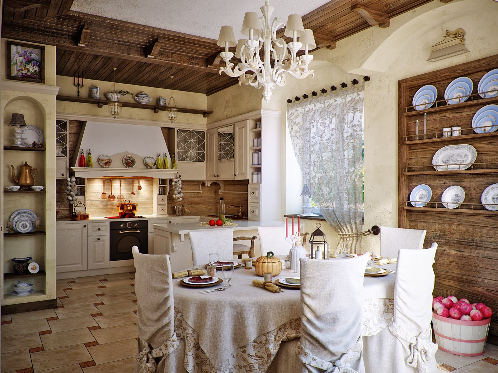 Country kitchen design by Svetlana Nezus Interior Designs .
