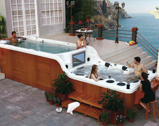 luxury douple deck hot tub spa with tv luxema 8000