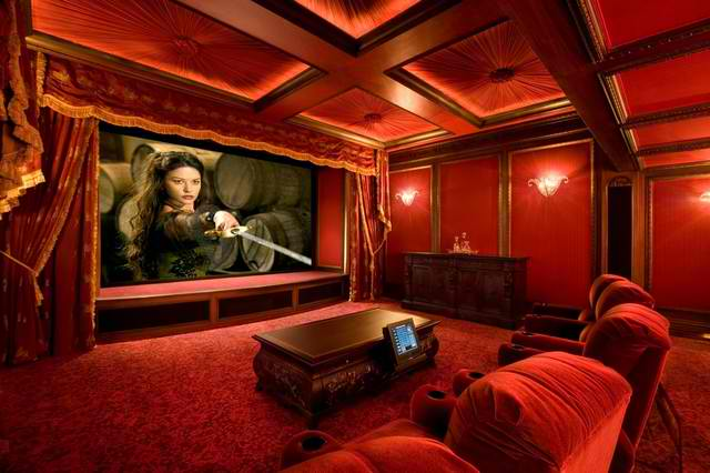 Total Red Velvet Home Theatr Room Design Ideas