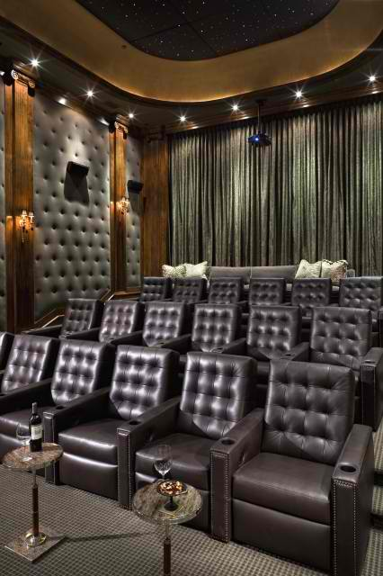 home theater room with Chesterfield leather seating