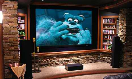 stone home theater room