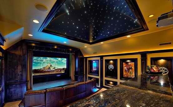 home theater room with sky roof led