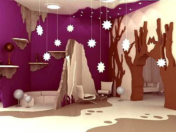 purple modern kid's playroom 12