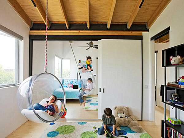 kid's play room eith bubble chairs