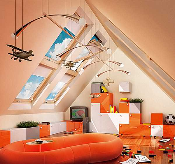 attic orange kid's playroom 15