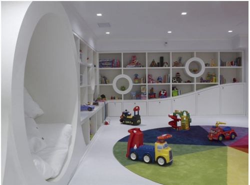 white modern kid's playroom 16