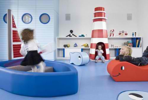 blue and red kid's playroom 18