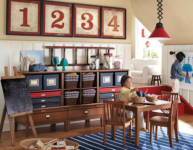 kid's artist storage playroom