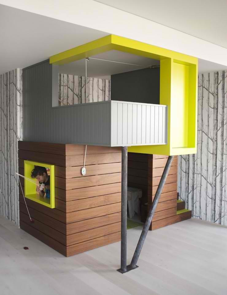 kid's playroom with built playhouse 9