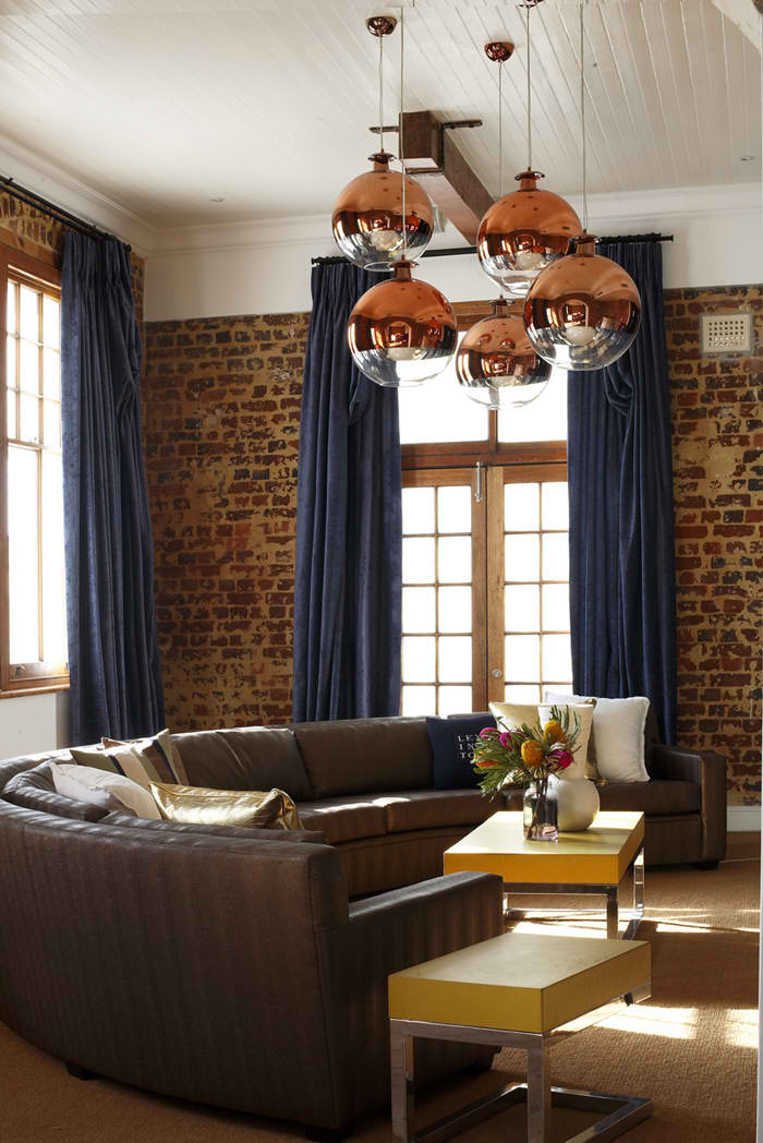 Living Room 2 With Old Raw Brick Wall And Dark Blue Curtains