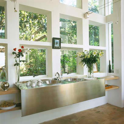 amazing stainless steel sink under windows