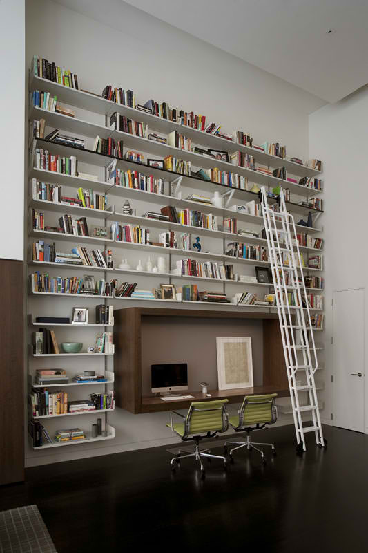 modern home office with library by david howell