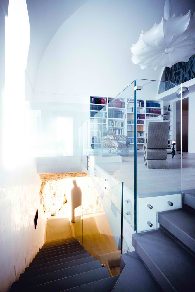 modern glass stairs and reading nook interior design