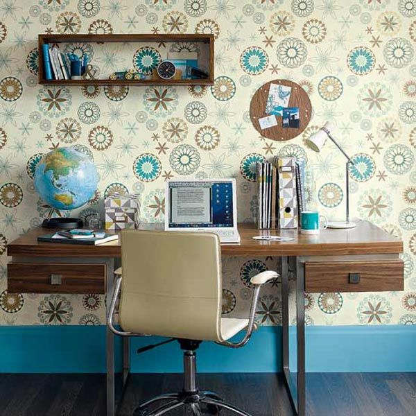 blue and brown retro home office design