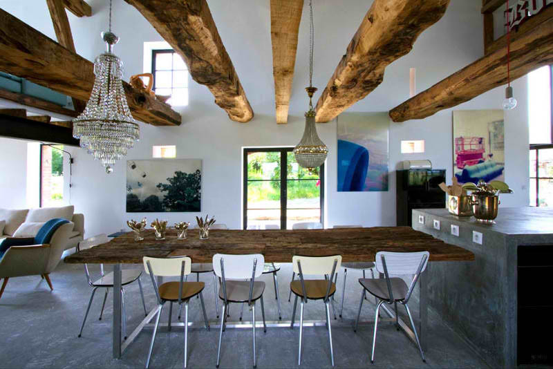 Rustic meets modern in an old barn decoholic for Barn style interior design