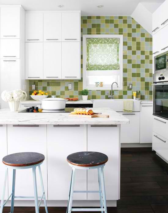 White Small Kitchen Design With Green Tiles 10