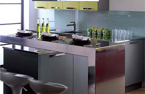 small kitchen design with metal bar 14